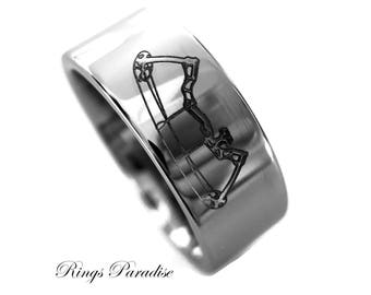 Tungsten Wedding Band, Mens Tungsten Ring, Mens Wedding Bands, Bow Archery Design, Archery Ring, His and Her Promise Rings, Anniversary Gift