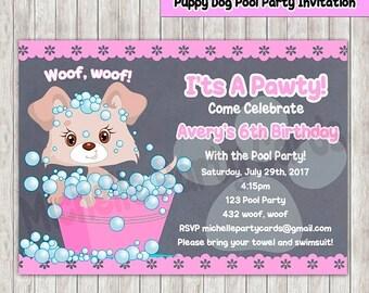 50off puppy dog pool party invitation birthday party dog invitation - Dog Birthday Party Invitations