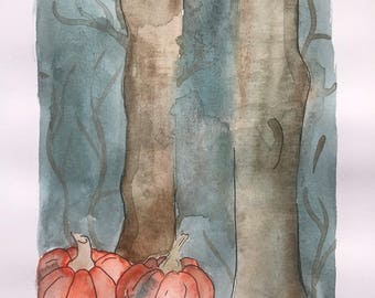Watercolour Pumpkin Forest