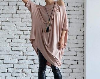 SALE Loose Top Tunic/Beige Oversize Top/Long Sleeve Tunic Dress/Short Casual Dress/Beige Maxi Top/Asymmetric Long Top/Modern Plus Size Tunic
