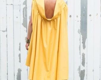 SALE Yellow Maxi Dress / Asymmetric Summer Dress / Mustard Casual Dress / Long Tunic Dress