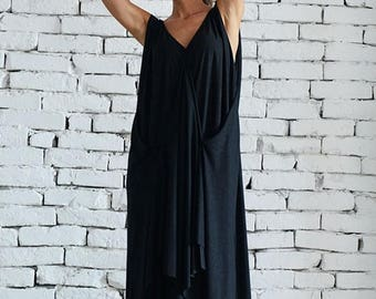 ON SALE Loose Maxi Black Dress / Oversize Draped Maxi Dress / Casual Asymmetric Dress / Long Black Summer Dress by METAMORPHOZA