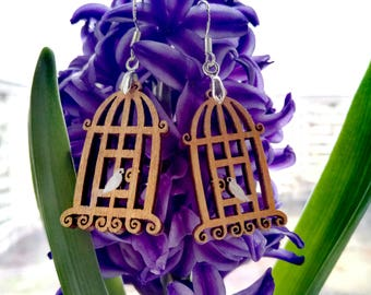 Bird in a cage Wooden earrings Gift for her For woman Wooden decorations Handmade original Wooden accessories Golden decorations Metallic