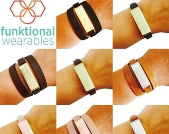 SALE Fitbit Bracelet for Fitbit Flex Fitness Trackers - The KATE Brushed Metal and Genuine Leather Wrap or Single Strap Buckle Fitbit Bracel