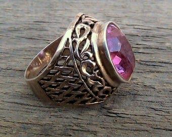 Soviet Silver Ring, Gold Plated, Heavy Soviet Silver Ring Pink Ruby, Soviet Vintage Silver Ring, 925 Sterling Silver Soviet Ring # 16