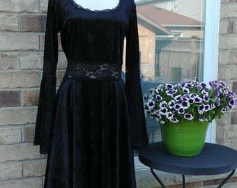 Gothic Black Crushed Velvet Dress L/XL