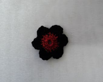 10 hook for SCRAPBOOKING cotton black and red flowers