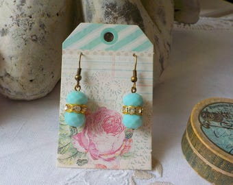 Victorian brass and turquoise bead earrings