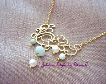 """Elegance"" - gold plated necklace with amazonite and Pearl Necklace"