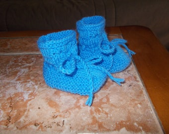 Wool slippers 0/3 months (blue)