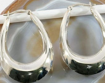 Hoops, 925 sterling silver - hoop earrings, 925 sterling silver - 3016