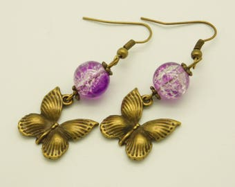 Earrings glass beads Crackle and butterflies