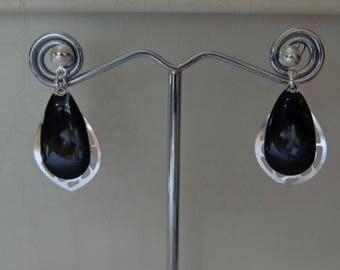 earring drop water silver black vintage piece unique