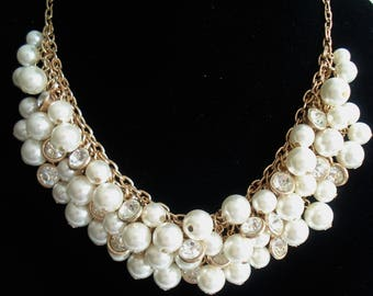 Bridal Necklace Earrings Set Pearl Jewelry Gold Necklace Statement Jewelry Pearl Necklace Bridal Jewelry Chunky Necklace Wedding Jewelry