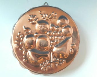 Vintage Copper Jello Mold, Fruit Design Jello Mold, Retro Mold, Jello, Vintage Jello Mold.