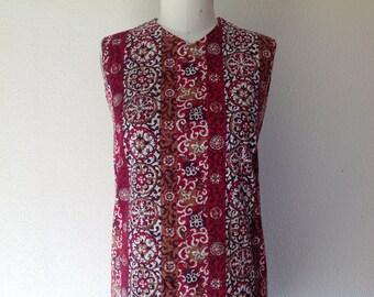 1960s Batik cotton shift dress