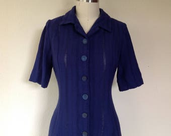 1940s Navy blue linen dress