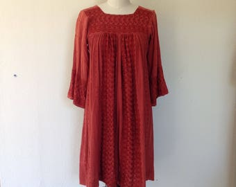 1960s embroidered Indian cotton gauze dress