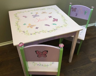 butterfly child's table set, hand painted table and chair sets children's table and chair sets