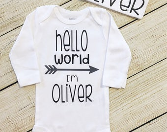 Hello World | infant bodysuit | hospital outfit | birth announcement | coming home | newborn | personalized | name | custom