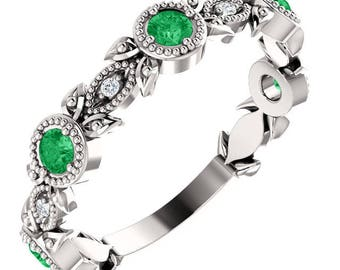 14K White Gold Chatham® Created Emerald & .03 CTW Diamond Ring, US SZ 7, Romantic Vintage Leaf Design