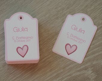Christening/birth pink heart wedding favor tags