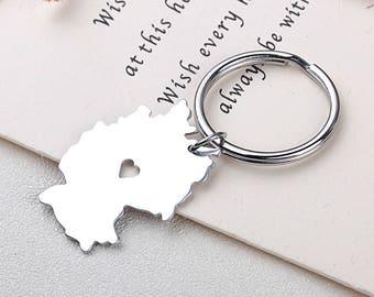 I heart Germany Keychain - Germany Keyring - Map Jewelry - Country Charm - Map keychain