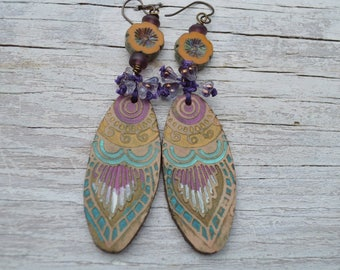 Boho leather earrings - DayLilyStudio