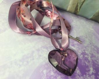 antique pink Swarovski heart and floral satin ribbon necklace
