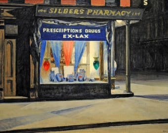 Drugstore by Edward Hopper Home Decor Wall Decor Giclee Art Print Poster A4 A3 A2 Large Print FLAT RATE SHIPPING