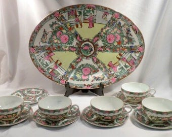 12 Piece Chinese Export Porcelain Set with Platter, 5 Cups, 6 Saucers