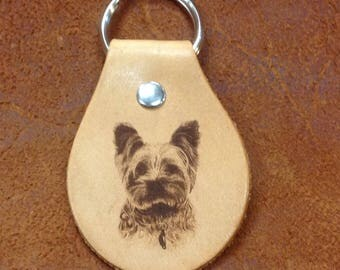 Laser Engraved Yorkie Leather Key Chain