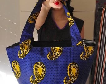 ETHNIC FABRIC BAG WITH HANDLES