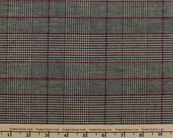 """Charcoal Brushed Plaid Stretch Suiting Fabric Fabric """"HVNX3P-F07BR110"""""""