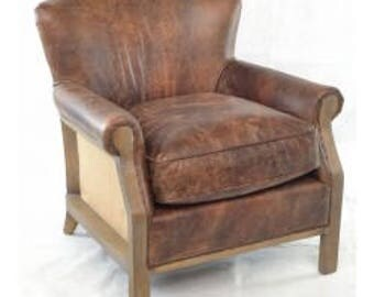 Brown Leather And Hessian Armchair, Unique Seating, Soft Leather Arm Chair,  Fireside Chair