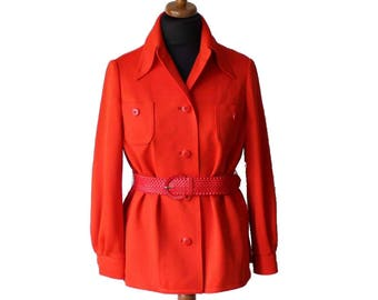 Vintage Red Orange Womens Belted Blazer Jacket Ladies Size Medium