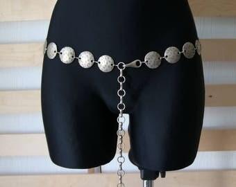Vintage Metal Belt  Boho Hippie Belt  Metal Chain Belt Large Size Belt