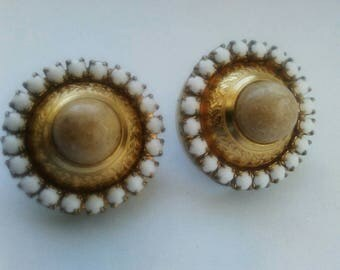 Gold tone white button clip on earrings white bead earrings, seed bead earrings, button earrings, clip on earrings, vintage earrings,