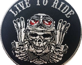 Live to Ride Skull With Guns 3 Inches 7,6cm iron on arachy biker motorcycles patch