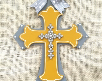 Wooden cross hand painted yellow and gray polka dot double stack with jewel cross on top