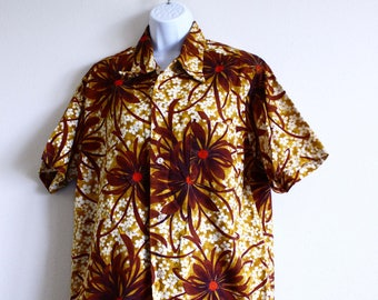 Hawaiian Shirt Vintage Midcentury Bark Cloth Shirt Men's Large Tiki Classic Big Brown Chrysanthemum Flowers Red Yellow Ivory Luau 60's party qE6D5J