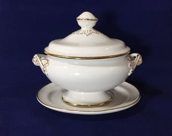 Covered Casserole / Soup Tureen in White with Gold trim ( numbered ) Andrea by Sadek,  (Holds .75 Qt. Oval), Andrea by Sadek