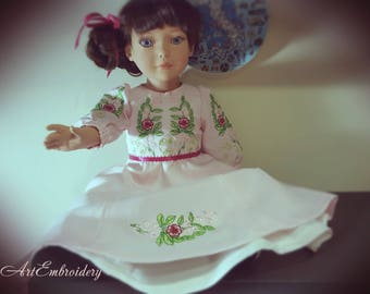 "Pink Sweetheart 1950's Floral Retro Dress with  embroidery for 18 inches  Doll , Doll Clothes, 18"" Doll Dress with Embroidery"