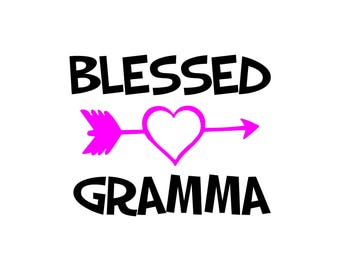 Blessed Decal / The WORD GRAMMA Can Be Changed To Any Word / Decal Is White And Pink