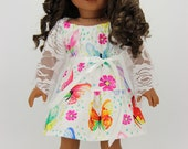 Handmade 18 inch doll clothes - Butterfly print dress outfit (885)