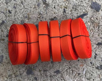 "3/8"" Russet Orange Autumn Orange Dark Orange Solid Grosgrain Ribbon 5 YARDS"
