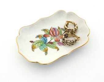 Herend Porcelain | Ceramic Trinket Dish | Herend Hungary | Ceramic Ring Dish | Hand Painted Flowers | Jewelry Dish | Porcelain Ring Dish