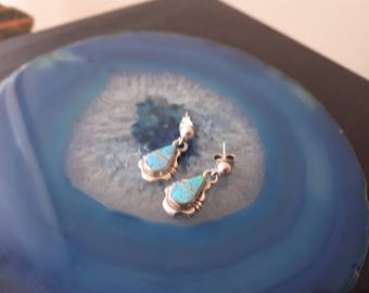 Vintage Blue Opal Inlay Stud Earrings 925 Sterling Silver EG3