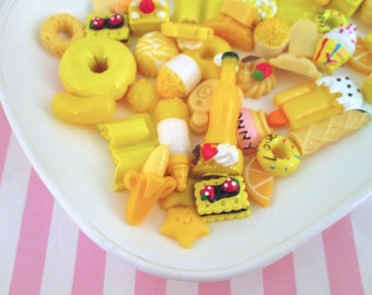 Assorted Yellow Sweets/Food Cabochons Mix #1034