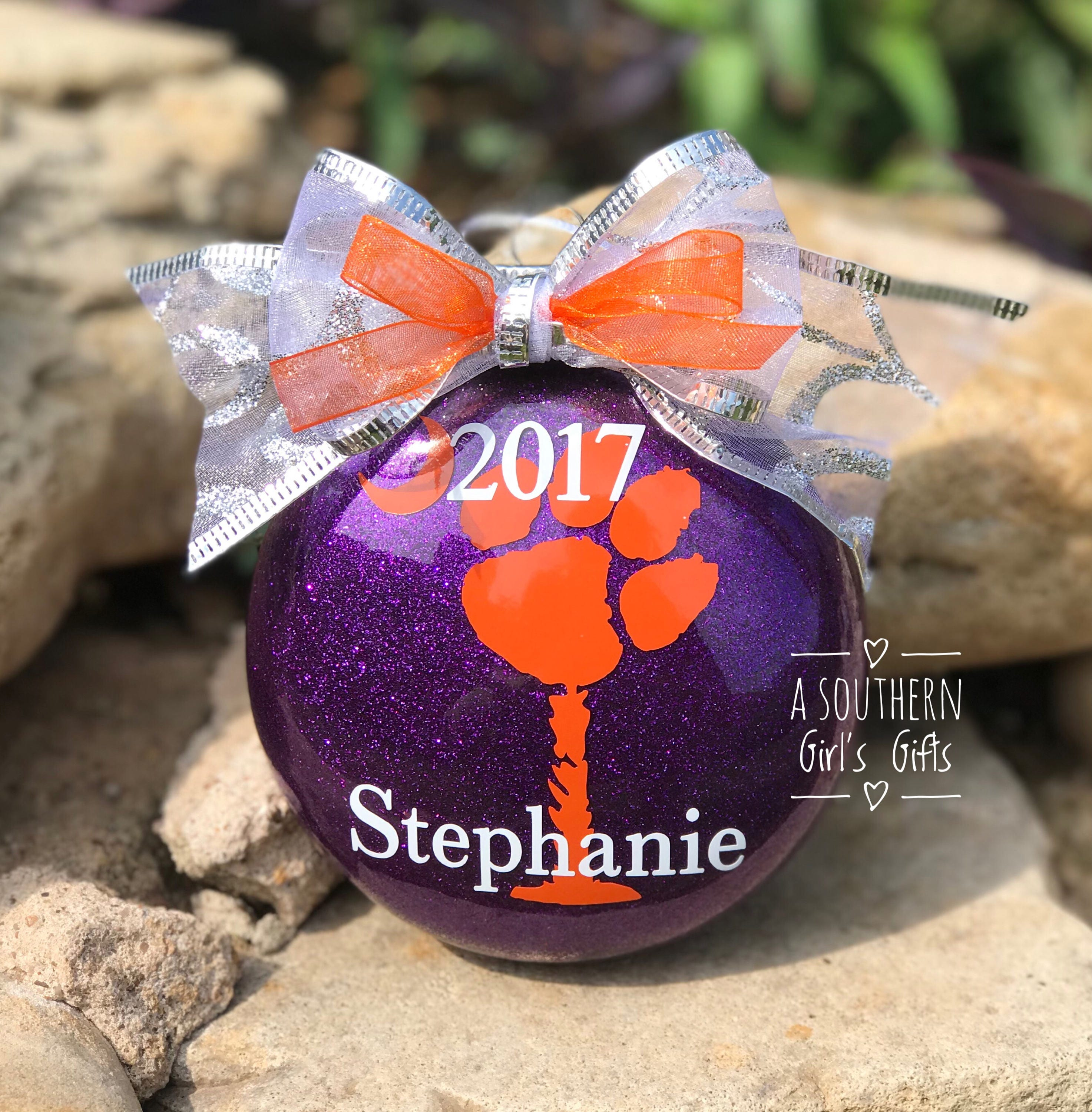 Clemson Christmas Tree: Clemson Tigers Christmas Glass Ornament Personalized With Year